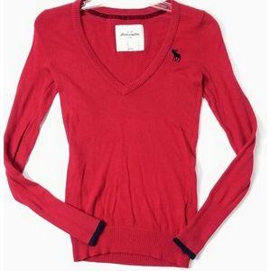 Abercrombie Ladies Red V Neck Lightweight Sweater